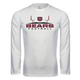 Performance White Longsleeve Shirt-Bears Football w/ Field