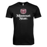 Next Level SoftStyle Black T Shirt-Bear Head Missouri State Stacked