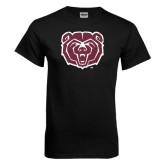 Black T Shirt-Bear Head Distressed