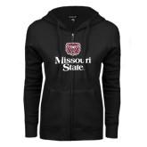 ENZA Ladies Black Fleece Full Zip Hoodie-Bear Head Missouri State Stacked