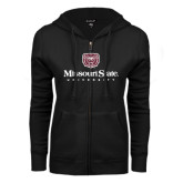 ENZA Ladies Black Fleece Full Zip Hoodie-Missouri State University Stacked w/ Bear Head