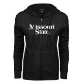 ENZA Ladies Black Fleece Full Zip Hoodie-Missouri State