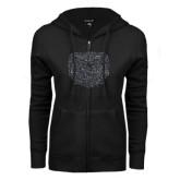 ENZA Ladies Black Fleece Full Zip Hoodie-Bear Head Graphite Glitter