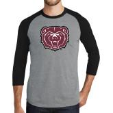 Grey/Black Tri Blend Baseball Raglan-Bear Head
