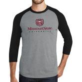 Grey/Black Tri Blend Baseball Raglan-Missouri State University Stacked w/ Bear Head