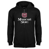 Black Fleece Full Zip Hoodie-Bear Head Missouri State Stacked