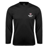 Performance Black Longsleeve Shirt-Bear Head Missouri State Stacked