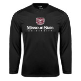 Syntrel Performance Black Longsleeve Shirt-Missouri State University Stacked w/ Bear Head