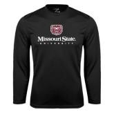Syntrel Performance Black Longsleeve Shirt-Missouri State University Stacked w/ Bear Head