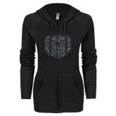 ENZA Ladies Black Light Weight Fleece Full Zip Hoodie-Bear Head Graphite Glitter