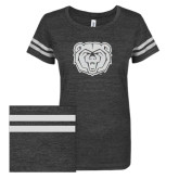 ENZA Ladies Black/White Vintage Triblend Football Tee-Bear Head White Soft Glitter