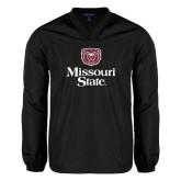 V Neck Black Raglan Windshirt-Bear Head Missouri State Stacked