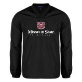 V Neck Black Raglan Windshirt-Missouri State University Stacked w/ Bear Head