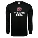 Black Long Sleeve TShirt-Bear Head Missouri State Stacked