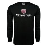 Black Long Sleeve TShirt-Missouri State University Stacked w/ Bear Head