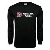 Black Long Sleeve TShirt-Horizontal Missouri State w/ Bear Head