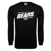 Black Long Sleeve TShirt-Slanted Bears w/ Bear Head
