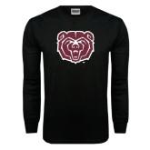 Black Long Sleeve TShirt-Bear Head Distressed
