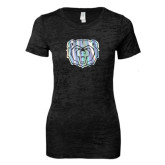 Next Level Ladies Junior Fit Black Burnout Tee-Bear Head Foil