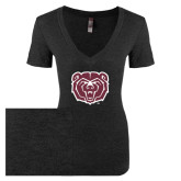 Next Level Ladies Vintage Black Tri Blend V-Neck Tee-Bear Head