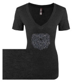 Next Level Ladies Vintage Black Tri Blend V-Neck Tee-Bear Head Graphite Glitter