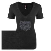 Next Level Ladies Vintage Black Tri Blend V-Neck Tee-Bear Head Graphite Glitter