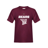Youth Maroon T Shirt-Bears Basketball Hanging Net