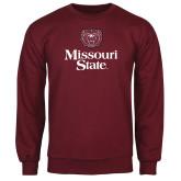 Maroon Fleece Crew-Bear Head Missouri State Stacked