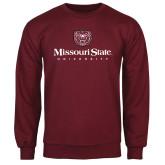 Maroon Fleece Crew-Missouri State University Stacked w/ Bear Head