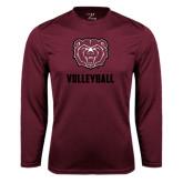 Performance Maroon Longsleeve Shirt-Volleyball
