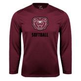 Performance Maroon Longsleeve Shirt-Softball