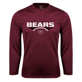 Performance Maroon Longsleeve Shirt-Bears Football Stacked