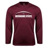Performance Maroon Longsleeve Shirt-Missouri State Football w/ Ball