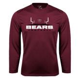 Performance Maroon Longsleeve Shirt-Bears Football w/ Field
