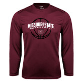Syntrel Performance Maroon Longsleeve Shirt-Missouri State Basketball Arched w/ Ball
