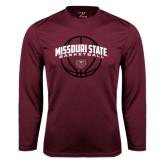 Performance Maroon Longsleeve Shirt-Missouri State Basketball Arched w/ Ball