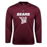 Performance Maroon Longsleeve Shirt-Bears Basketball Hanging Net