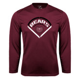 Syntrel Performance Maroon Longsleeve Shirt-Bears Baseball Arched in Diamond