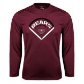 Performance Maroon Longsleeve Shirt-Bears Baseball Arched in Diamond