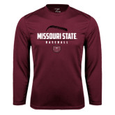 Syntrel Performance Maroon Longsleeve Shirt-Missouri State Baseball Stacked