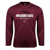 Performance Maroon Longsleeve Shirt-Missouri State Baseball Stacked