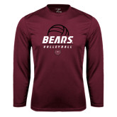 Syntrel Performance Maroon Longsleeve Shirt-Bears Volleyball Stacked