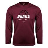Performance Maroon Longsleeve Shirt-Bears Volleyball Stacked