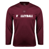 Performance Maroon Longsleeve Shirt-Volleyball w/ Ball