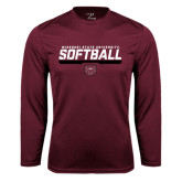 Performance Maroon Longsleeve Shirt-Missouri State University Volleyball Stencil