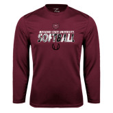 Syntrel Performance Maroon Longsleeve Shirt-Softball Distressed Texture