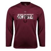 Performance Maroon Longsleeve Shirt-Softball Distressed Texture