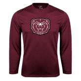 Performance Maroon Longsleeve Shirt-Bear Head