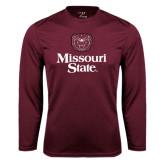 Performance Maroon Longsleeve Shirt-Bear Head Missouri State Stacked