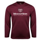 Performance Maroon Longsleeve Shirt-Missouri State University Stacked w/ Bear Head